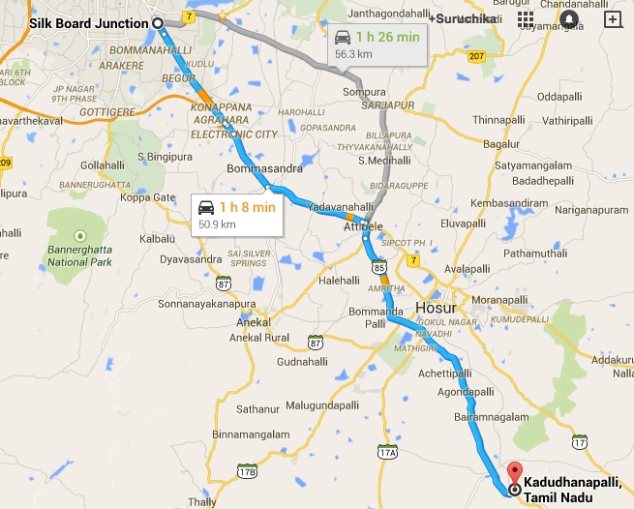 Approx 60 kms from Silk Board Bangalore - down Hosur road