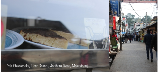 View of Jogibara Road and Yak cheesecake from Tibet Bakery