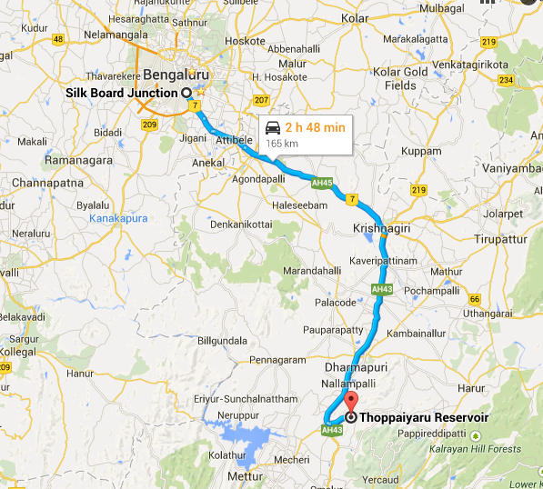 Approx 200 kms from Bangalore, best to drive beside the railway tracks