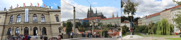 Rudolfinum - Prague Castle across from Manesuv Most (vehicular bridge) - Malostranska tram station